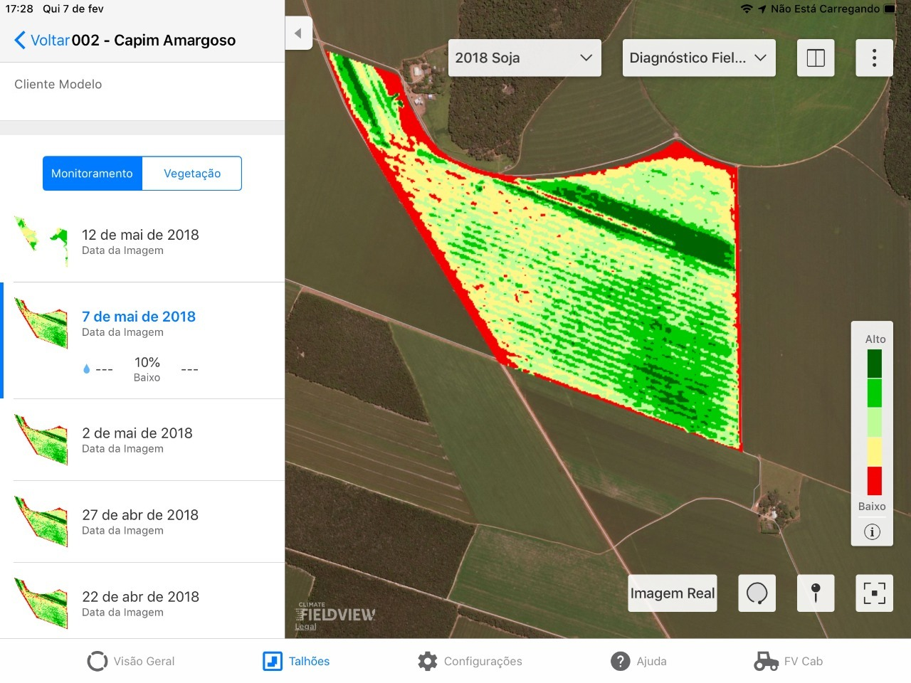 Mapa de Monitoramento da Plataforma FieldView™️ indica variabilidade no desenvolvimento da cultura da soja