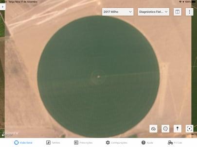 Diagnóstico FieldView™ gera três tipos de mapas: Imagem Real; Mapa de Vegetação; e Mapa de Monitoramento