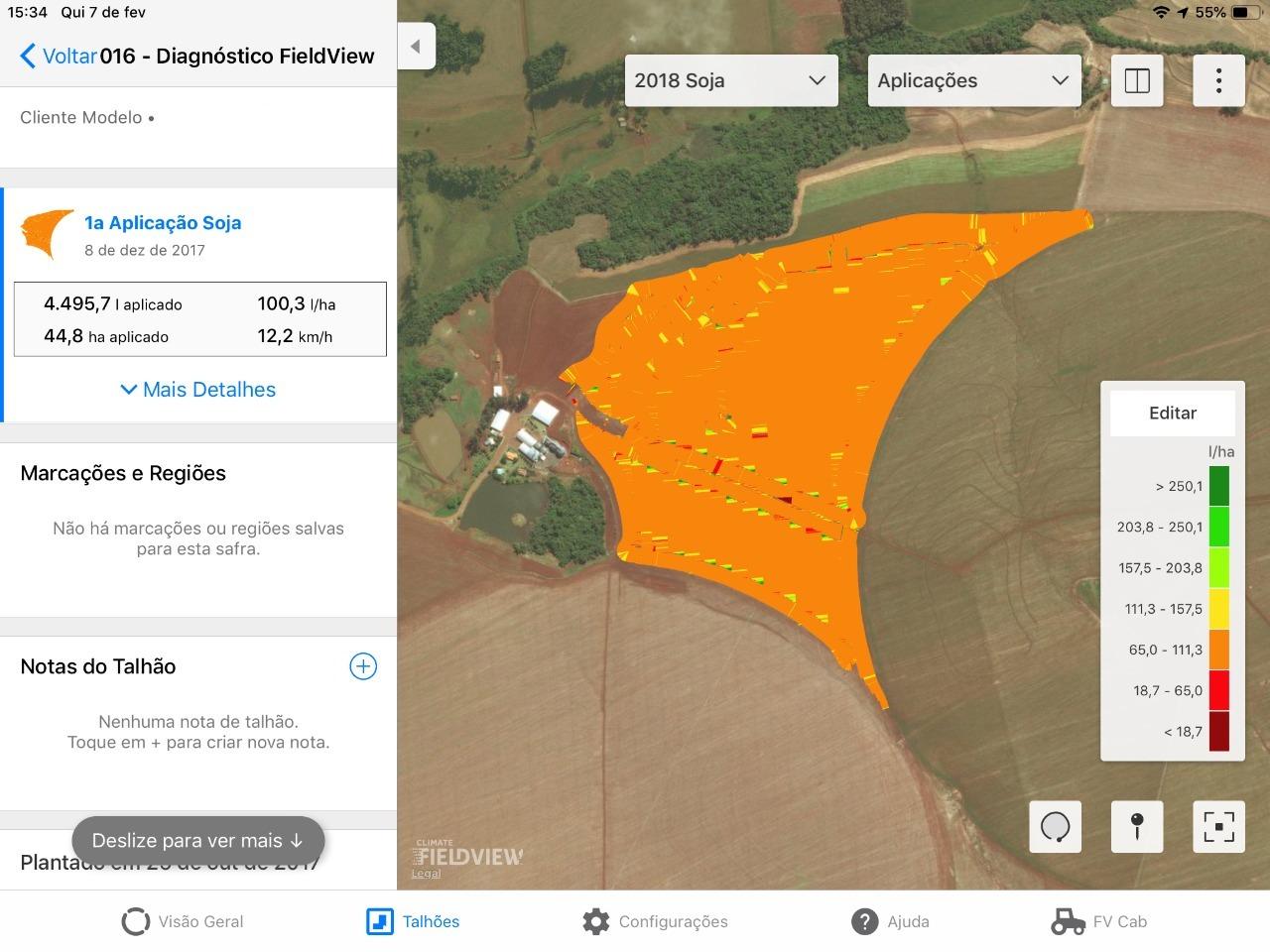 Agricultura moderna mais assertiva com o mapa de monitoramento da pulverização