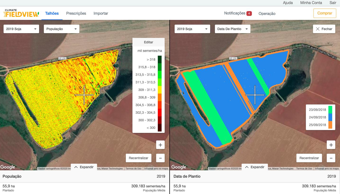 split screen mostra o mapa de população de plantas do talhão comparando com o plantio da mesma área