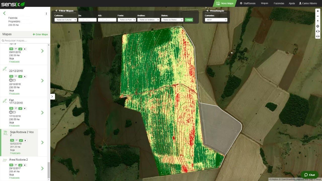 A partir de imagens captadas por satélite e drones, Sensix FieldScan gera diferentes tipos de imagens