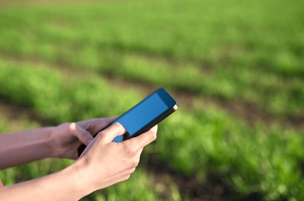 sensoriamento-remoto-na-agricultura-imagem amplicada do braço de uma pessoa mexendo em um tablet na lavoura
